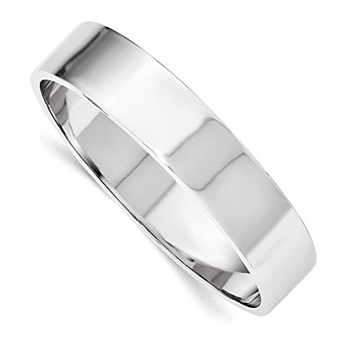 Jewelry Adviser Bangle Bracelets Sterling Silver 15.50mm Rhodium-plated Polished Slip-on Bangle