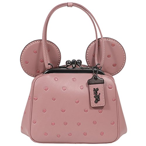 Coach Mickey Bag Crossbody Saddle Leather with Mickey Ears Kiss Lock (Dusty Rose) by Coach