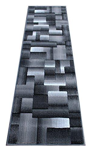 Rug Area Runner Black (Masada Rugs, Modern Contemporary Runner Area Rug, Grey Black (2 Feet X 7 Feet) Runner)