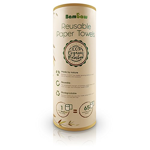 Reusable Paper Towel | Bamboo Eco kitchen roll | Multipurpose | Strong, Thick and Absorbent |100% Organic | Soft on Skin | Quick Dry and Antibacterial | 20 Reusable Sheets | Bambaw]()