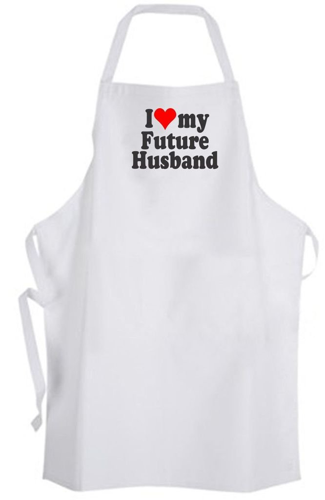 I Love my Future Husband Adult Size Apron - Heart Bride to be Wedding Wife Groom
