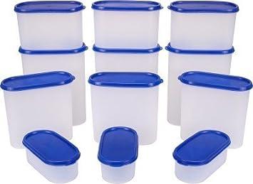 Mahaware Tallboy Modular Kitchen Food Storage Plastic Containers, Set Of 12  Pcs, Blue