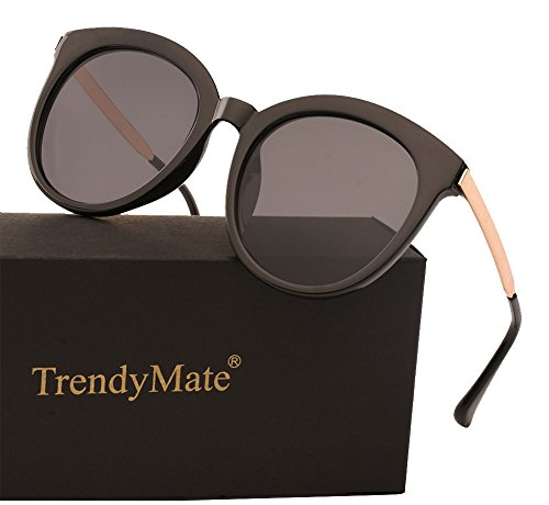 TrendyMate Women Round Frame Oversized Sunglasses Men UV400 Protection Retro Cute Sun Glasses (Black, - Big Retro Sunglasses Round