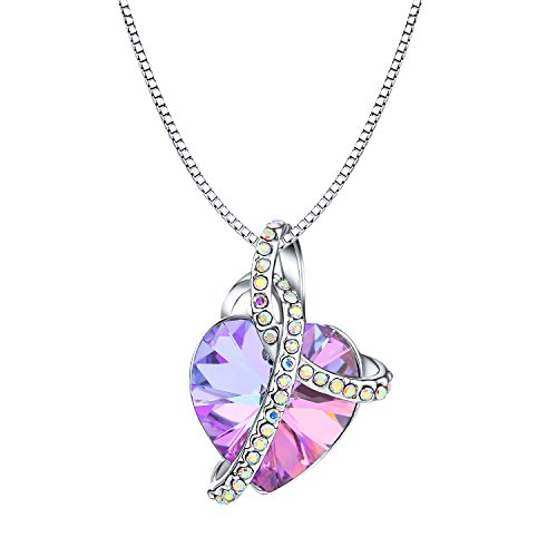 Osiana Romantic Love Pendant Necklace Jewelry Gift With Crystal from Swarovski Elements Platinum-Plated,18