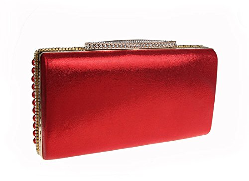 Beaded Elegant Clutch Red Party Ladies Evening Purse Pearls Bags Bridal Prom Wedding Ankoee q8tvw7n