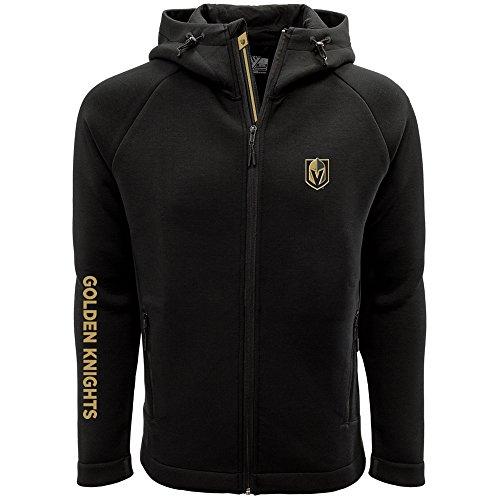 Jacket Stripe Zip (NHL Vegas Golden Knights Adult Men Titan Banner Stripe Full Zip Hooded Jacket, Medium, Black)
