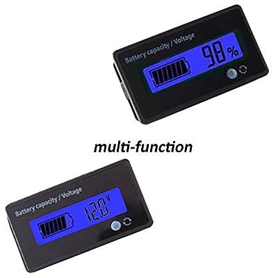 12V Lead Acid Battery Capacity Meter Voltage Tester Multifunction Voltmeter Battery Capacity Indicator for AGM, GEL, SLA, Blue Backlight
