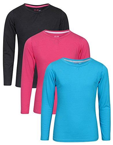 dELiA*s 'dELiAs Girls\' 3 Pack Long Sleeve T-Shirts, Black, Pink & Blue, 10/12'