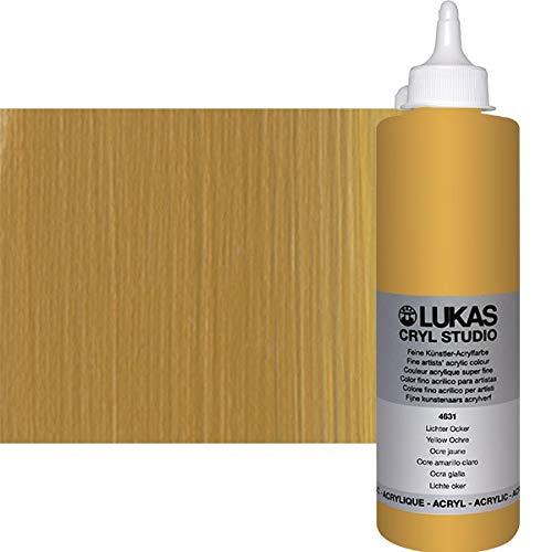 (LUKAS Cryl Studio Acrylic Paint - Professional Grade Artist Acrylic Paint from Germany - 500 ml Bottle - Yellow Ochre Light)