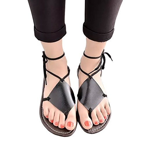 Appler Women's Summer Sandals Shoes Thong Flat Roman Sandals (Shoes Roman Sandals)