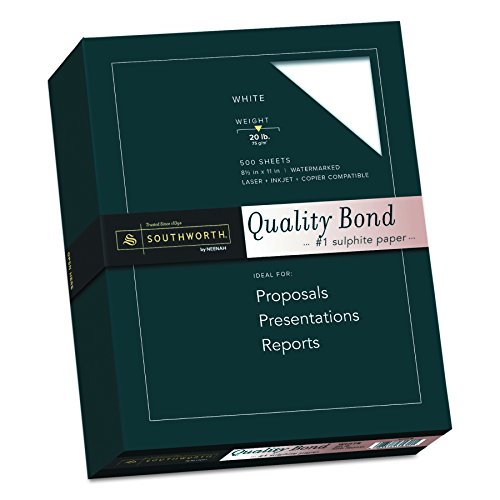 - Southworth Quality Bond Paper, 8.5 x 11 inches, 20 lb, White, 500 Sheets per Box (31-620-10)