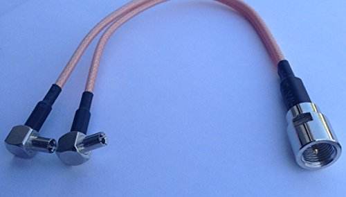 "FME male to Y type 2x TS9 male right angle Splitter Combiner cable pigtail RG174 6"" 1M2M Quick USA Shipping"