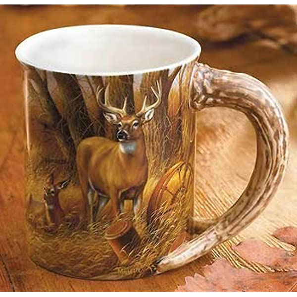 Amazon Com Wild Wings Rustic Retreat Whitetail Deer Sculpted Mug Sports Outdoors
