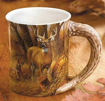 - Wild Wings Rustic Retreat Whitetail Deer Sculpted Mug