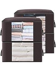 Opvouwbaar helder venster,90L kleding organisatoren versterkt handvat,Grote capaciteit opbergtas,4 Pack kleding container voor dekbedden dekens