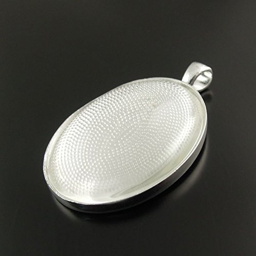 Julie Wang 10 Sets Silver Oval Bezel Blank Tray Pendant with Glass Cover 40x30mm