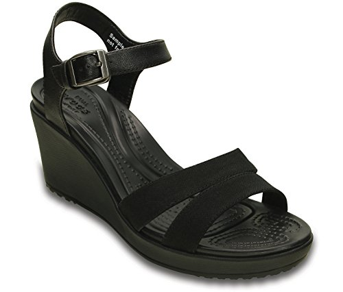 Crocs Women's Leigh II Ankle Strap Wedge, Black/Black, 10 M US by Crocs