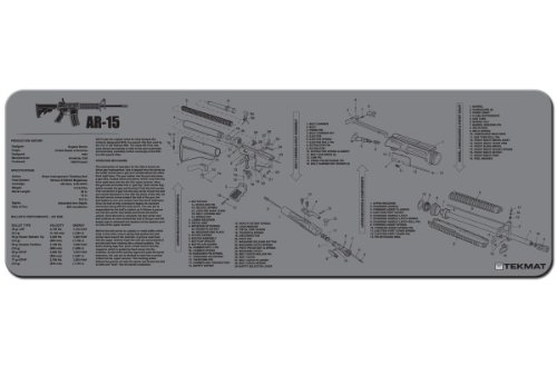 TekMat AR-15 Cleaning Mat / 12 x 36 Thick, Durable, Waterproof / Long Gun Cleaning Mat with Parts Diagram and Instructions / Armorers Bench Mat / - Parts Diagram A Of