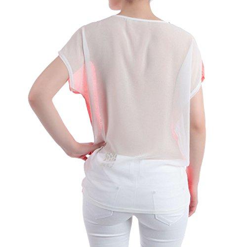 La Modeuse - T-shirt large et léger imprimé sur le devant et orné de strass et clous