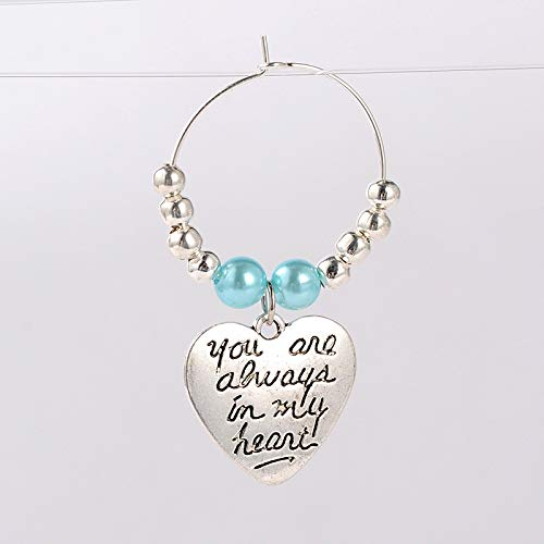 """PEPPERLONELY 10PC""""you are always in my heart!"""" Beaded Wine Glass Charms,Antique Silver,Deep Sky Blue, 46mm; Pin: 0.7mm"""