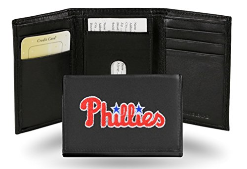 (MLB Philadelphia Phillies Embroidered Genuine Cowhide Leather Trifold Wallet)