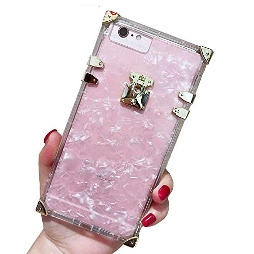 (Compatible for iPhone 6 Plus/ 6s Plus / 7 Plus /8 Plus Case,BabeMall Luxury Square Sparkle Glitter Light Pink Shell Clear TPU Phone Metal Corner Case (Shell Pink, for iPhone 6 Plus/iPhone 6s Plus) )