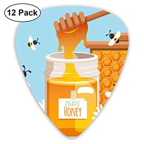 HAIDILUN Delicate and Bottled Honey and Bee Guitar Picks Plectrums Acoustic Guitar Ukulele Picks 0.46 Mm, 0.73mm, 0.96 Mm,12 - Guitar Pick Pick Grip Honey