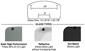 CRL//SFC 17 x 32 Replacement Glass with RL105 Hardware for NewPort Sunroof