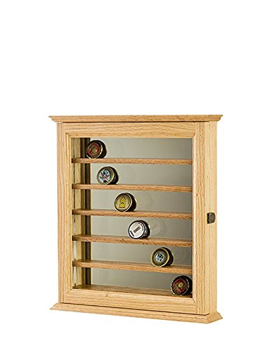 Oak- 42 Challenge Coin Display Cabinet With Mirror Back Oak Challenge Coin