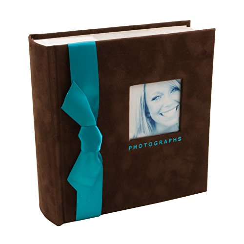 (BorderTrends Chocolux 100-Pocket Faux Suede with Ribbon Photo Album, Chocolate Brown & Turquoise)
