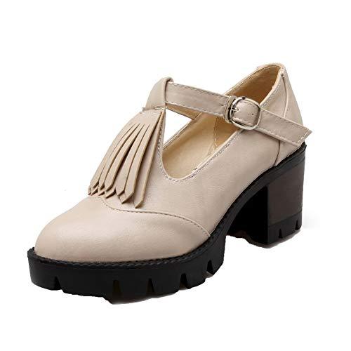 Frange Tacco Fibbia Medio Flats Donna FBUIDD006961 Luccichio Ballet Beige AllhqFashion 1qCan