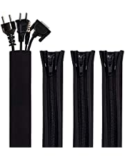 4 Pack Cable Management Sleeve, Cord Organizer System - 19.5 inch Flexible Cable Sleeve