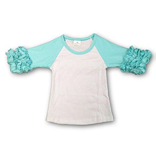 (The Hair Bow Company Toddler Girl Icing Ruffle Raglan Shirt 3T Aqua)