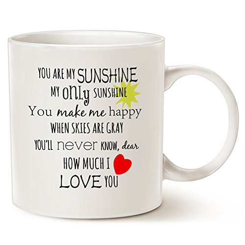 Christmas Is You Lyrics - Inspirational Love Coffee Mug Christmas Gifts, You are my Sunshine Word Art Typography Coffee Cup White, 14 Oz by LaTazas