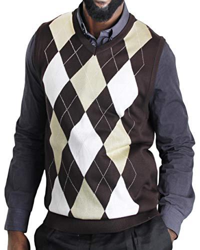 Blue Ocean Argyle Sweater Vest-Medium Brown