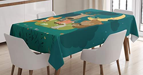 Ambesonne Animals Tablecloth, Animals Resting Around Bonfire Fox