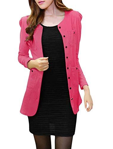 tasca Donna Di Casuale Fashion M Autunno Breasted Single color Rosa Con Fit Puro Mode Slim Size Multi Outerwear Cardigan Giaccone Primaverile Colore Vintage Marca Elegante Cappotto 1qOnv84d