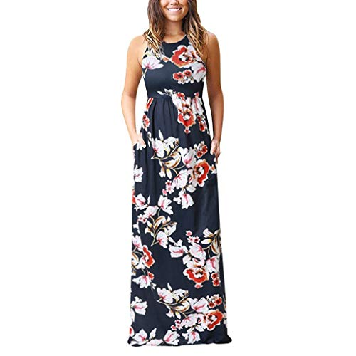 Women's Sleeveless Floral Beach Long Maxi Dresses with Pockets Changeshopping Black