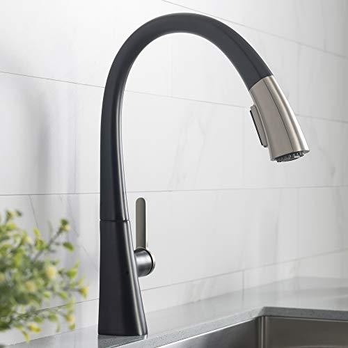 Kraus KPF-1673SFSMB Nolen Kitchen Faucet, 16.4, Spot Free Stainless Steel/Matte Black