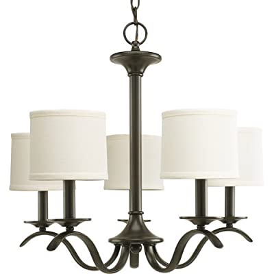 "Progress Lighting P4635 Inspire 5 Light Chandelier with Linen Shade - 7"" Tall,"