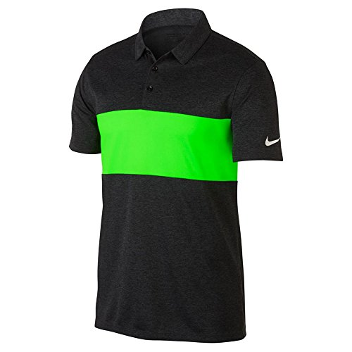 NIKE Breathe Color Block Golf Polo Black Heather/Green Strike/White XX-Large ()