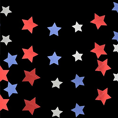 11' Silver Glitter - Quasimoon PaperLanternStore.com 4th of July Red, Silver and Blue Glitter Paper Star Garland Banner (11FT)