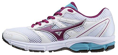 Mizuno Zapato de Running Para Mujer Oficial 2014/2015 Wave 2 Impetus WOS J1GF141360 Azul Talla L, Color Blanco y Morado Bianco Viola Turchese Talla:36.5 Bianco Viola Turchese
