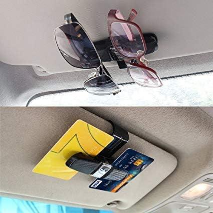 Gaosheng 2 Piezas Gafas Soporte para Auto parasoles Giratorio 180 Grados con Tarjeta Clip
