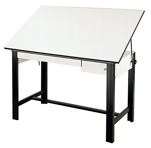 Alvin DM60CT-BK DesignMaster Table, Black Base White Top 2 Drawers 37.5 inches x 60 inches by Alvin