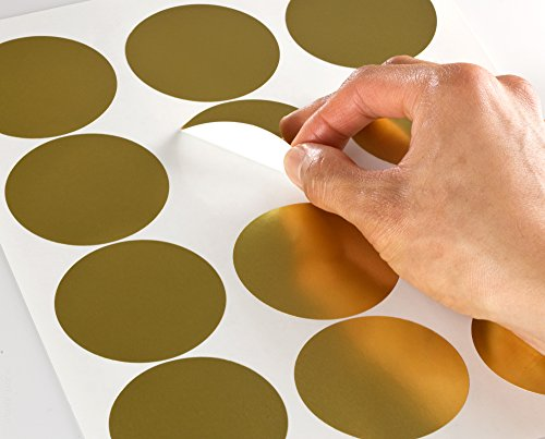 Shiny Gold Foil 2.5 inch Diameter Circle Labels for Laser Printers with Template and Printing Instructions, 5 Sheets, 60 Labels (GF25) - Gold Inkjet Paper