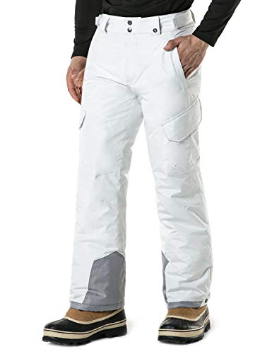 (TSLA Men's Rip-Stop Snow Pants Windproof Ski Insulated Water-Repel Bottoms, Snow Cargo(ykb83) - White, 2X-Large (Waist 38.5-41 Inch) )