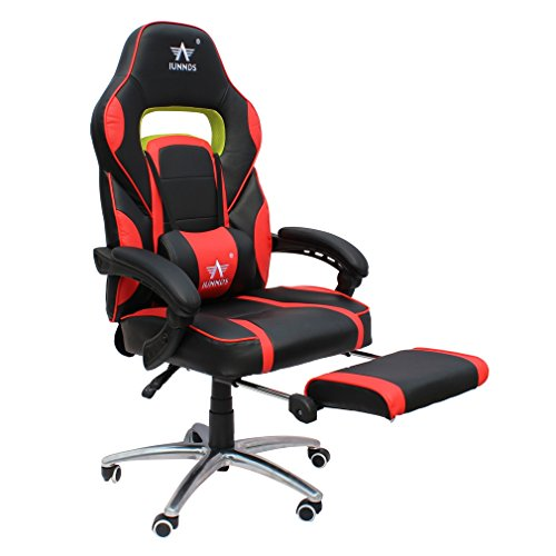 KLB Sport Ergonomic Reclining Gaming Chair Racing Style Adjustable Height High-Back Computer Chair with Headrest, Footrest and Lumbar Cushion Support Executive Office Chair (Black, Red) KLB Sport