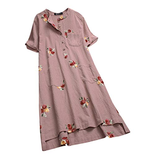 (Tunic Dresses For Women Short Sleeve Floral Embroidered Pockets Irregular Dresses By Sagton (Pink,XXXXXL))