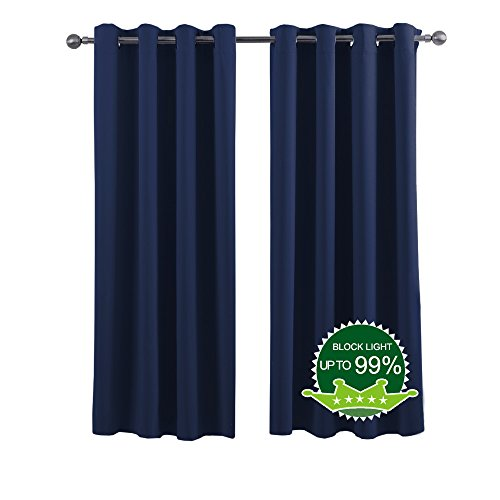 Window Curtains Blackout Drapes - Thermal Insulated, Privacy Assured, Functional Blackout Curtains / Panels for Bedroom (Set of 2, 52 x 84 Inch in Navy Blue)